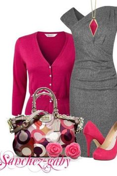 a professional looking gray dress with pink shoes and a pink cardigan Komplette Outfits, Classy Outfits, Fashionable Outfits, Business Outfits, Business Casual, Business Formal, Business Attire, Casual Office, Business Fashion