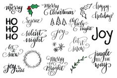 Hand Lettered Holiday Clip Art. These images are perfect to use in almost any program, including Photoshop, your favorite photo editor, and most digital scrapbooking programs. They also work with electronic cutting tools like the Silhouette Cameo, so you can cut the designs from vinyl or other materials to create your own ornaments, holiday dishes, and more! $4 https://crmrkt.com/6jXN1D?u=sarahdesign #ad