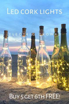 Easy DIY wine bottle lights for your wine bottle centerpieces. Batteries included, just add them to your empty wine bottle. Liquor Bottle Crafts, Empty Wine Bottles, Wine Bottle Corks, Lighted Wine Bottles, Bottle Lights, Glass Lights, Diy Bottle, Bottle Art, Wine Bottle Centerpieces