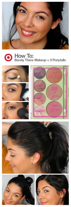 """Short on time? Get ready with Sonia Castaneda for """"barely there"""" makeup that's just as effortless as it looks. Best part? She only uses 4 products, including the all-in-one Pixi Palette Bronzette for face and eyes. For your hair, try a fresh take on a ponytail with these three how-tos and a few spritzes of styling spray from Toni & Guy."""