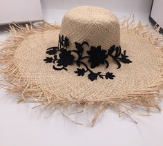 Embroidered Raffia Hat Raffia Hat, Floppy Sun Hats, Floral Embroidery, Cowboy Hats, Style, Swag, Stylus, Flower Embroidery