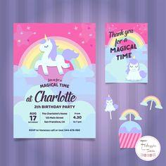 Unicorn party kit. Festa di compleanno tema 'UNICORNO'. Disponibile party kit componibile in pdf o gia' pronto all'uso. di FesteggiaconTaniaIT su Etsy