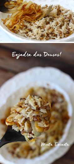 O arroz branco do dia a dia ganha novos ares acrescido de lentilhas e cebolas caramelizadas a Enjadra, uma receita árabe fácil de fazer e muito gostosa