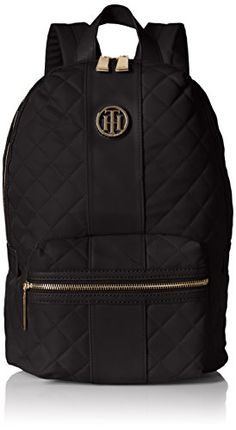 Tommy Hilfiger Womens Isla Quilted Nylon Backpack Black -- You can find out more details at the link of the image. (Note:Amazon affiliate link)