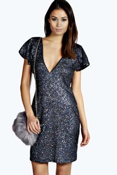 Joe Woven Holographic Bodycon Sequin Dress at boohoo.com
