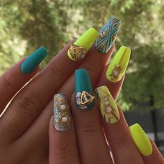 neon yellow and turquoise nails