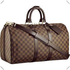 LV 2014 Louis Vuitton Damier Ebene Canvas Keepall 45 With Shoulder Strap 97bbe6a0c4a