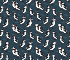 Puffin - Parisian Blue gift wrap by andrea_lauren on Spoonflower - custom fabric