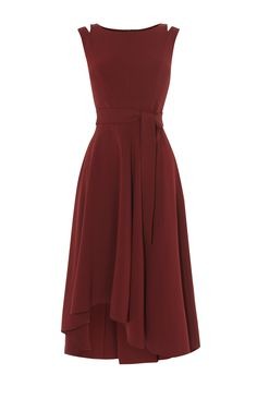 Karen Millen, CREPE MIDI DRESS Burgundy