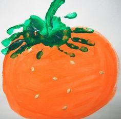 Halloween handprint pumpkins