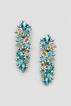 Crystal Katherine Earrings in Water Blue   Women's Clothes, Casual Dresses, Fashion Earrings & Accessories   Emma Stine Limited