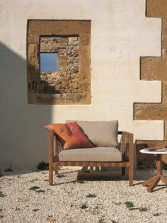 Wooden #garden armchair with armrests Mistral Collection by RODA   #design Rodolfo Dordoni #summer #stone