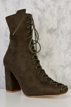 Stringy Lace Up Midi Boots Olive Green
