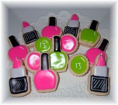 Spa/Salon Lipstick and Nail Polish Cookie by YadkinValleyCookies.......  How cute is this