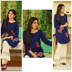 Sanam Baloch looking super chic in our new Streetstyle offshoulder top with our white organza boot leg pants! We love the look #sanambaloch #arynews #morningshow #streetstylebysammyk #sammyk