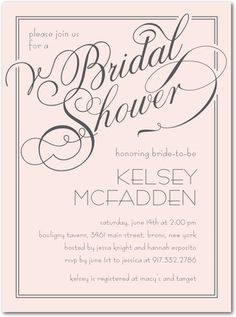 Elegant Wishes - Signature White Bridal Shower Invitations - Sarah Hawkins Designs - Chenille - Pink : Front
