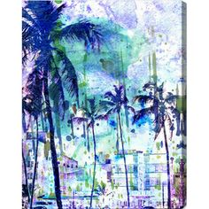 @Overstock.com - Oliver Gal 'Purple Miami' Modern Canvas Art - Freshen up your walls with the bold effervescence of these blue-purple palm trees. This print evokes sunny days and seaside evenings, as marine shades of blue and green sweep across the lightly sketched Miami cityscape.  http://www.overstock.com/Home-Garden/Oliver-Gal-Purple-Miami-Modern-Canvas-Art/7862211/product.html?CID=214117 $88.99