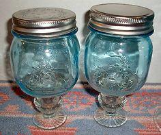 Blue Mason Jar Redneck 8oz Country Wine Bourbon Cocktail Glass Mug Half Pint | eBay