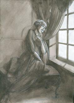 'Una chica': lápiz, aguada y gouache. 300€ David Belmonte ©
