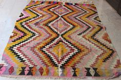 $540 Turkish Handwoven Kilim,Decorative Kilim,Colorful Kilim,Tribal Kilim,Vintage Kilim,Ethnic Kilim,Boho Kilim,98 x 69 inches,250 x 174 cm