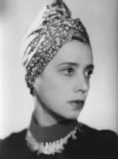 Elsa Schiaparelli in her Turban Hat design 1930's. #furturban See blogpost at http://www.whitestole.com/1/post/2014/03/inspiring-the-ages-couture-ballgown-creations-by-elsa-schiaparelli-we-love.html