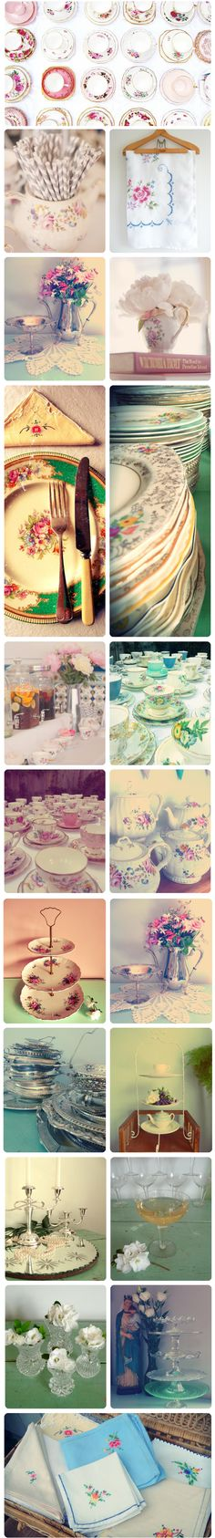 """Table wear, and general mood board for """"Afternoon picnic under the tree."""" The setting: vintage. The colours: pastel, odd china, linen, velvet lounges. Lots of texture. #confettimagspring"""
