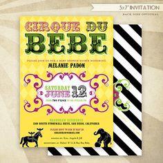 CUSTOM Cirque Du BeBe Baby Shower  PRINTABLE Invitation  by HWTM!
