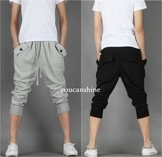 Men's Capri Jogger Sports Shorts Baggy Harem Cropped Pants Hip Hop Rope Trousers #Unbranded #CasualShorts