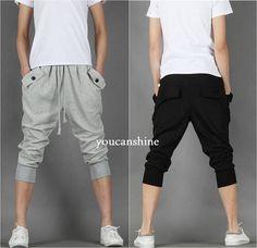 Men's Capri Jogger Sports Shorts Baggy Harem Cropped Pants Hip Hop Rope Trousers #Unbranded #CasualShorts