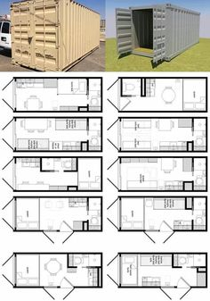 shipping container transformed into micro space - many floorplan ideas