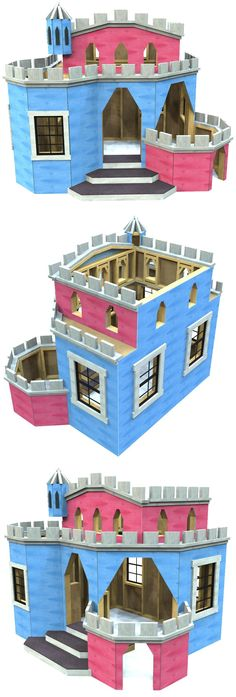 The wooden, indoor castle playhouse is a great project for the whole family.  If you're looking for something really cool to add to the kid's playroom, these castle plans are a great start!
