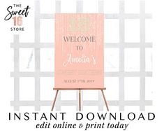 Sweet 16 & Quinceanera Invitations by Edit Online, Sweet Sixteen Parties, Quinceanera Invitations, Sign Design, Welcome, Sweet 16, Your Design, Signage, Sweet Sixteen