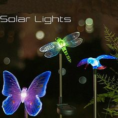 Solar Powered Hummingbird, Butterfly & Dragonfly Garden Stake Light with Color Changing LEDs It is just a matter of putting the tip on the bottom of the stake and the animal on the top. Then turn it on and your garden will have a magic atmosphere.