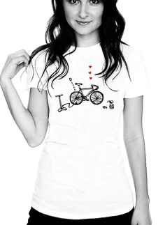 Love Your Bike Women's Perfect Fit T Shirt T- Shirt Graphic Tee Ringspun Super Soft 100 Percent Cotton Fitted Crew Neck Top Knit White