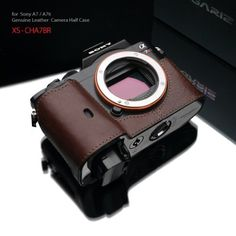 Gariz Genuine Leather XS-CHA7R Camera Metal Half Case for Sony Alpha A7S A7R A7 Brown.