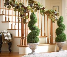 Spiral Christmas Staircase Garland Ideas   ... is part of 25 in the series Cozy Fall Decorating Ideas For Your Home