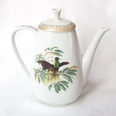 Mottahedeh Bird of Paradise Coffee Pot and Lid by LinensandThings, $50.00