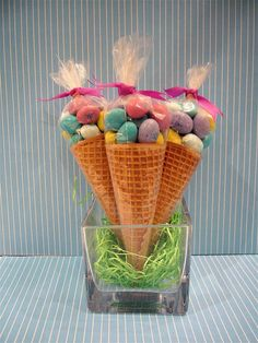 ♥ Easter M in Sugar Cones- would be cute for easter basket!