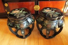 Vintage Pair Asian Black Lacquer Wood Tables /Garden Stools Flowers
