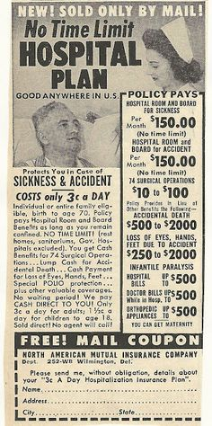 ☤ MD ☞☆☆☆ 1950s ad: Hospital Plan. For profit healthcare needs to be a thing of the past!