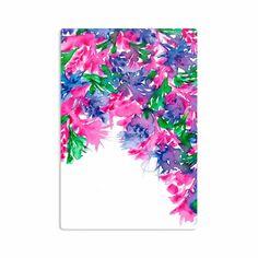 "Ebi Emporium ""Floral Cascade 1"" Pink Green Aluminum Artistic Magnet"