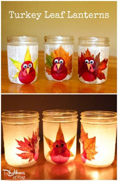 Aren't these turkey leaf lanterns cute? They are fun and easy to make too! All you need is a few simple materials and a free afternoon to put these sweet little luminaries together. They look wonderful both lit and unlit and are the perfect addition to any holiday table.