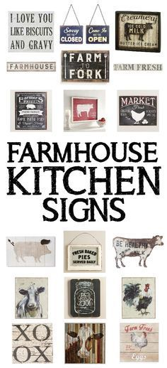 """15 farmhouse kitchen signs. I'm totally crushing on the """"I Love You Like Biscuits and Gravy"""" sign and the """"Fresh Baked Pies Served Daily"""" sign. So stinking cute!!"""