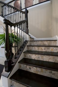 """I'd like to remove the carpet on my front stairs.  Don't know why I hadn't thought of this idea before:  TILE on the risers!   Still deciding if I like this particular combination, but I definitely like the idea of tile.  Now to find the """"right"""" tile."""