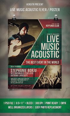 Live Music Acoustic  Flyer / Poster Template PSD #design Download: http://graphicriver.net/item/live-music-acoustic-flyer-poster/14475578?ref=ksioks