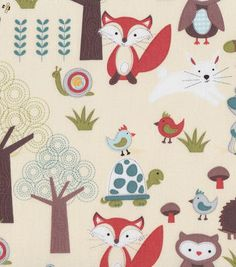 Nursery Fabric Beige Woodland Scene Prints Curtains Baby