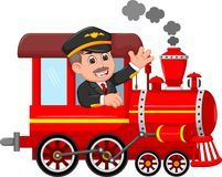 Handsome machinist cartoon uo train with smile and waving Stock Image