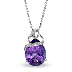 Pear-Shaped+Amethyst+Pendant+in+Sterling+Silver+with+Diamond+Accents