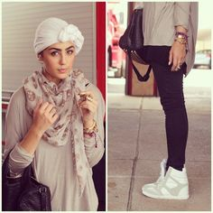 When it comes to the funky casual hijab style; there are a lot of nice ideas to consider for achieving this look. The popular fashionista Asia Akaf is always Muslim Women Fashion, Womens Fashion, Hijab Fashionista, Conservative Fashion, Modesty Fashion, Turban Style, Hijab Chic, Muslim Girls, Beautiful Hijab