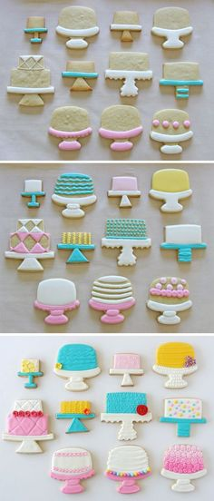 Cake Stand Decorated Cookies~        http://GloriousTreats.com, Pink, white, Yellow, Blue